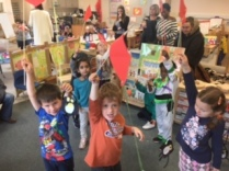Showing off our amazing kites and penguins.