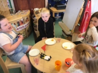 Having snack together with our friends going to St Francis.